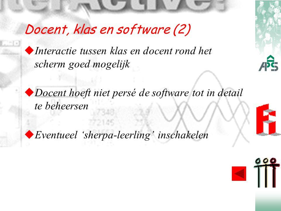 Docent, klas en software (2)  Interactie tussen klas en docent rond het scherm goed mogelijk  Docent hoeft niet persé de software tot in detail te b