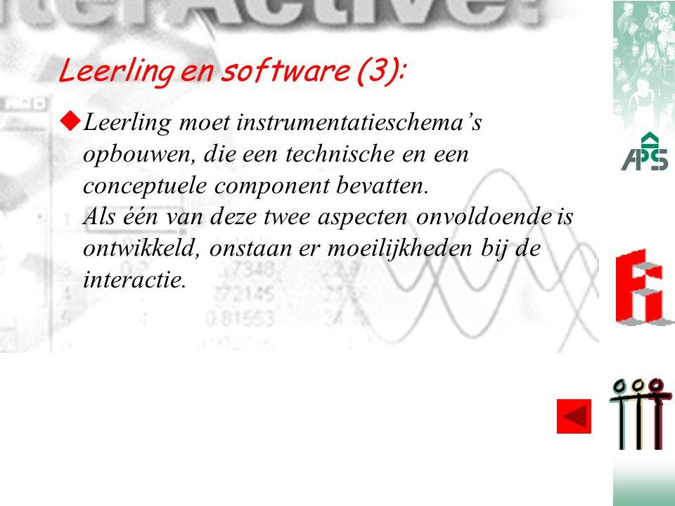 Leerling en software (3):  Leerling moet instrumentatieschema's opbouwen, die een technische en een conceptuele component bevatten. Als één van deze