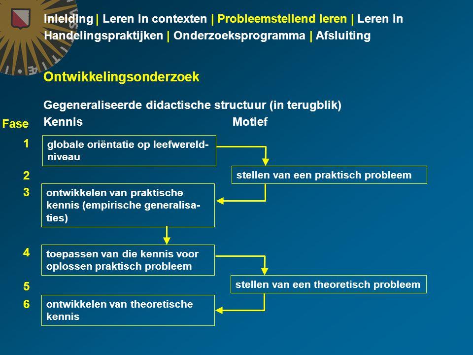 Inleiding | Leren in contexten | Probleemstellend leren | Leren in Handelingspraktijken | Onderzoeksprogramma | Afsluiting Ontwikkelingsonderzoek Gegeneraliseerde didactische structuur (in terugblik) KennisMotief globale oriëntatie op leefwereld- niveau stellen van een praktisch probleem ontwikkelen van praktische kennis (empirische generalisa- ties) toepassen van die kennis voor oplossen praktisch probleem stellen van een theoretisch probleem ontwikkelen van theoretische kennis 1 2 3 4 5 6 Fase