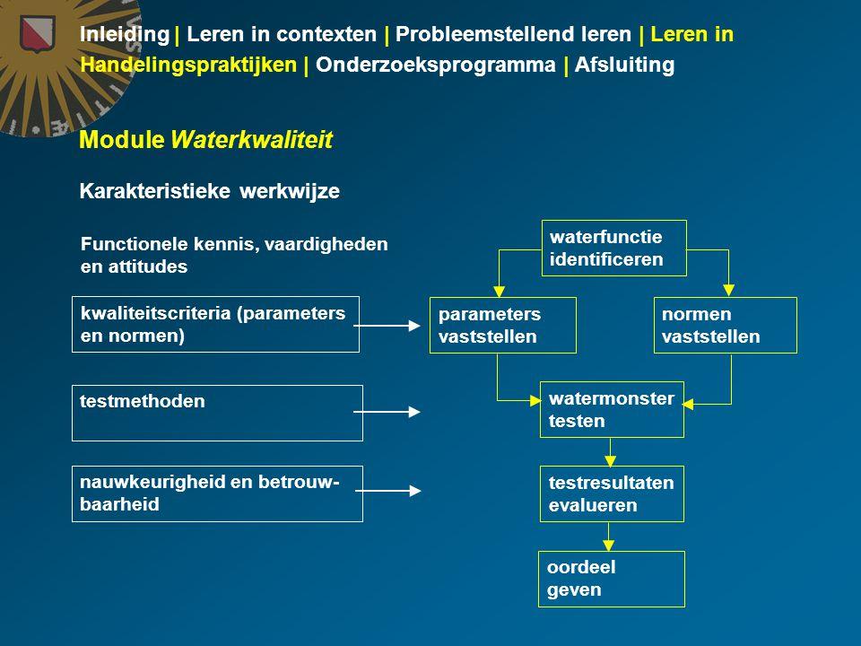 Inleiding | Leren in contexten | Probleemstellend leren | Leren in Handelingspraktijken | Onderzoeksprogramma | Afsluiting Module Waterkwaliteit Karak