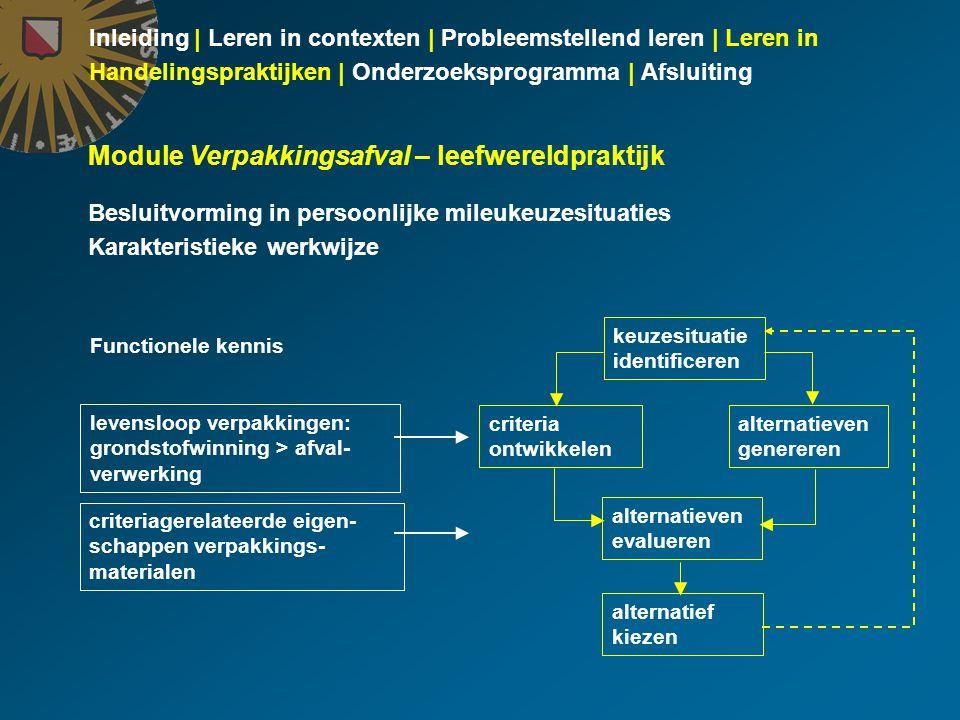 Inleiding | Leren in contexten | Probleemstellend leren | Leren in Handelingspraktijken | Onderzoeksprogramma | Afsluiting Module Verpakkingsafval – l