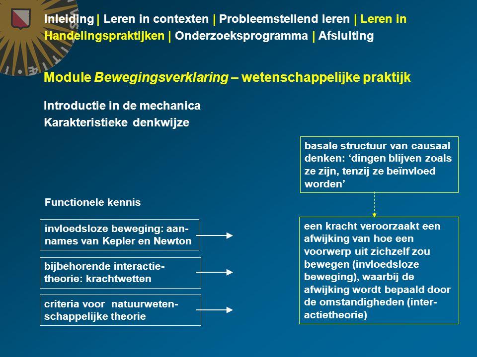 Inleiding | Leren in contexten | Probleemstellend leren | Leren in Handelingspraktijken | Onderzoeksprogramma | Afsluiting Module Bewegingsverklaring – wetenschappelijke praktijk Introductie in de mechanica Karakteristieke denkwijze een kracht veroorzaakt een afwijking van hoe een voorwerp uit zichzelf zou bewegen (invloedsloze beweging), waarbij de afwijking wordt bepaald door de omstandigheden (inter- actietheorie) Functionele kennis invloedsloze beweging: aan- names van Kepler en Newton bijbehorende interactie- theorie: krachtwetten basale structuur van causaal denken: 'dingen blijven zoals ze zijn, tenzij ze beïnvloed worden' criteria voor natuurweten- schappelijke theorie