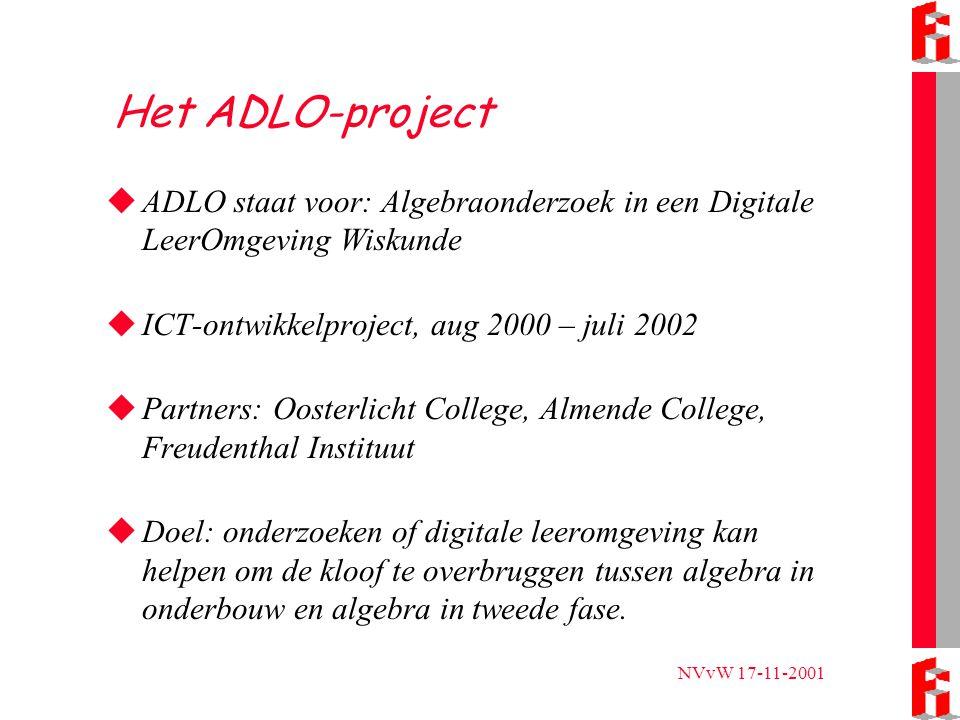 NVvW 17-11-2001 Opzet ADLO  Vwo-4 klassen een half jaaruur extra  Twee scholen, twee pakketten: TII en SN  Hardware (beamers, laptops)  Algebra-opdrachten