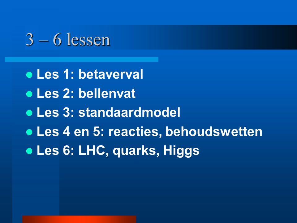 3 – 6 lessen Les 1: betaverval Les 2: bellenvat Les 3: standaardmodel Les 4 en 5: reacties, behoudswetten Les 6: LHC, quarks, Higgs