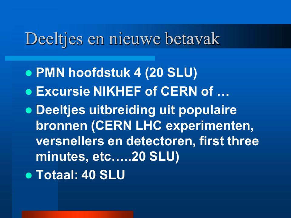 Deeltjes en nieuwe betavak PMN hoofdstuk 4 (20 SLU) Excursie NIKHEF of CERN of … Deeltjes uitbreiding uit populaire bronnen (CERN LHC experimenten, ve