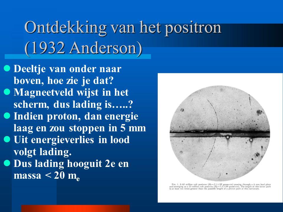 Ontdekking van het positron (1932 Anderson) Deeltje van onder naar boven, hoe zie je dat? Magneetveld wijst in het scherm, dus lading is…..? Indien pr