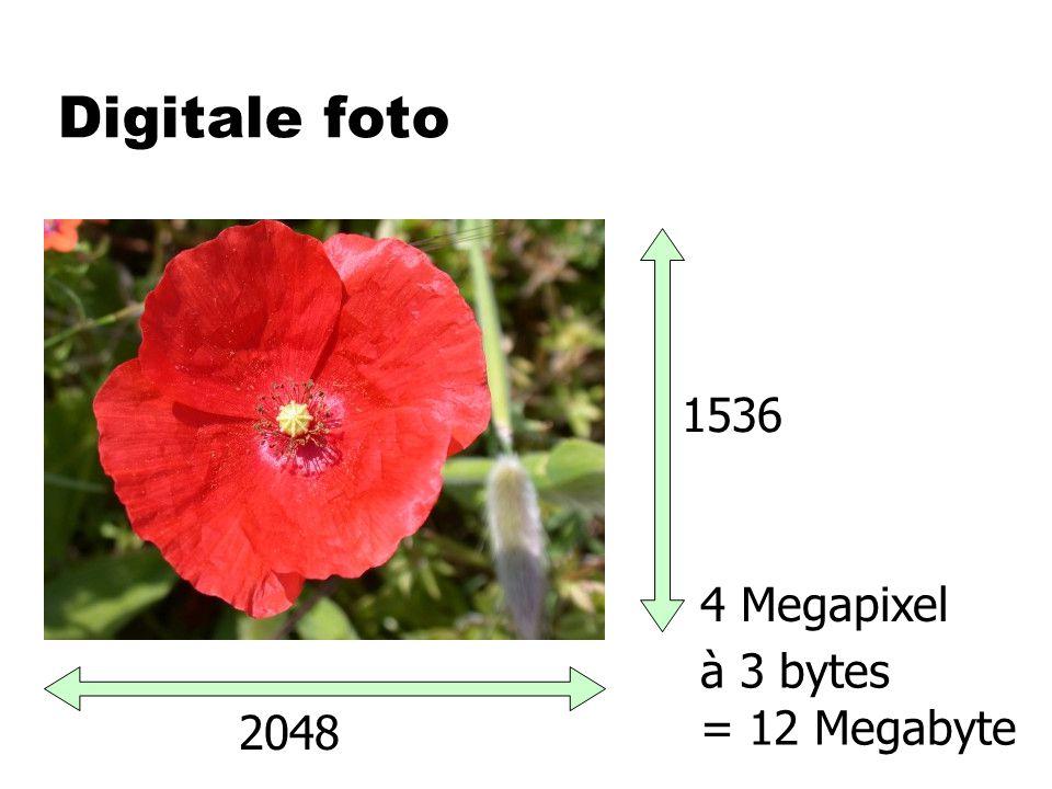 Digitale foto 2048 1536 4 Megapixel à 3 bytes = 12 Megabyte