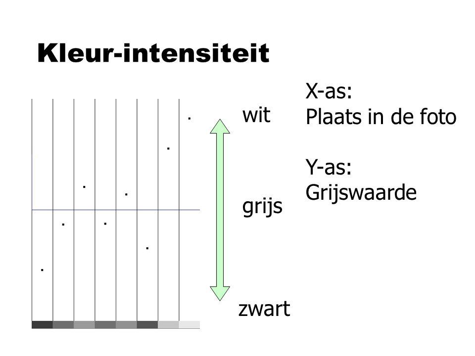 Kleur-intensiteit wit zwart grijs X-as: Plaats in de foto Y-as: Grijswaarde