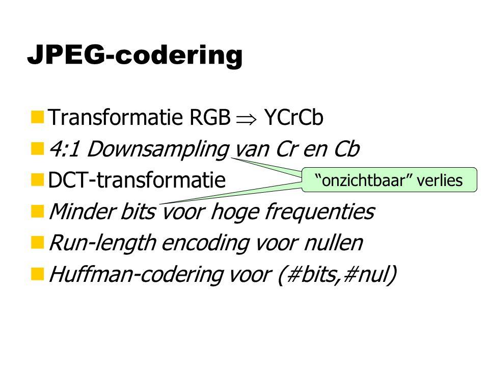 JPEG-codering nTransformatie RGB  YCrCb n4:1 Downsampling van Cr en Cb nDCT-transformatie nMinder bits voor hoge frequenties nRun-length encoding voor nullen nHuffman-codering voor (#bits,#nul) onzichtbaar verlies