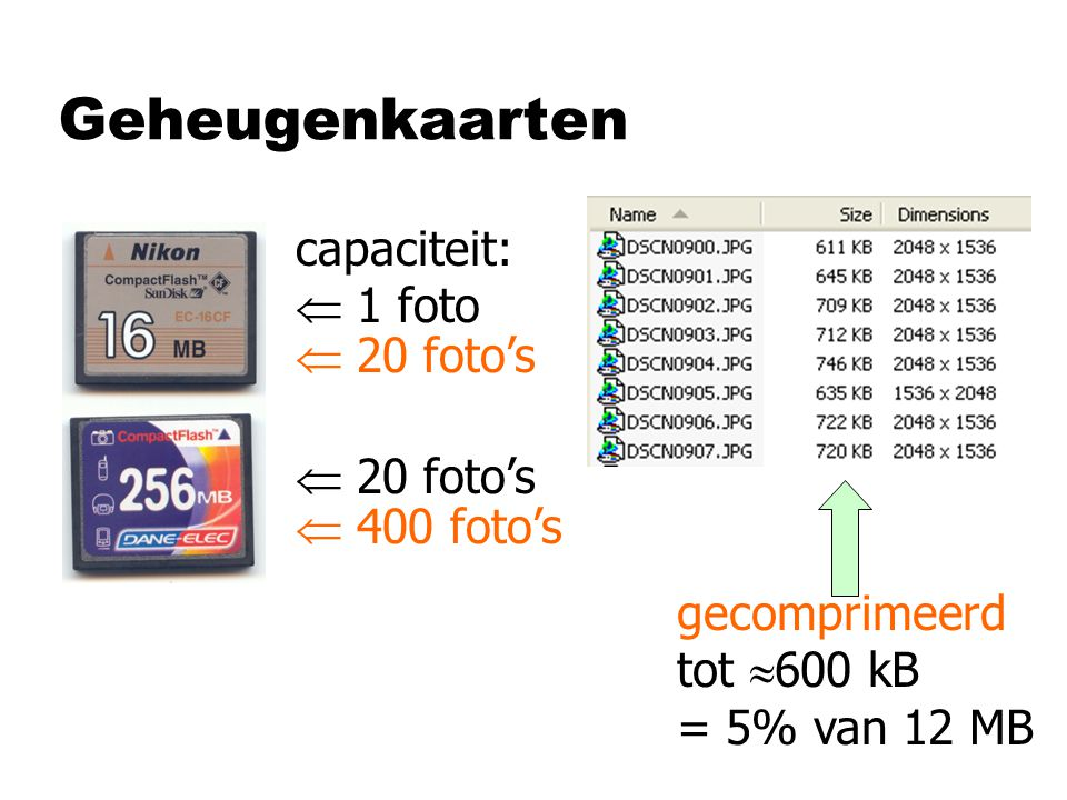 Geheugenkaarten capaciteit:  1 foto  20 foto's gecomprimeerd tot  600 kB = 5% van 12 MB  20 foto's  400 foto's