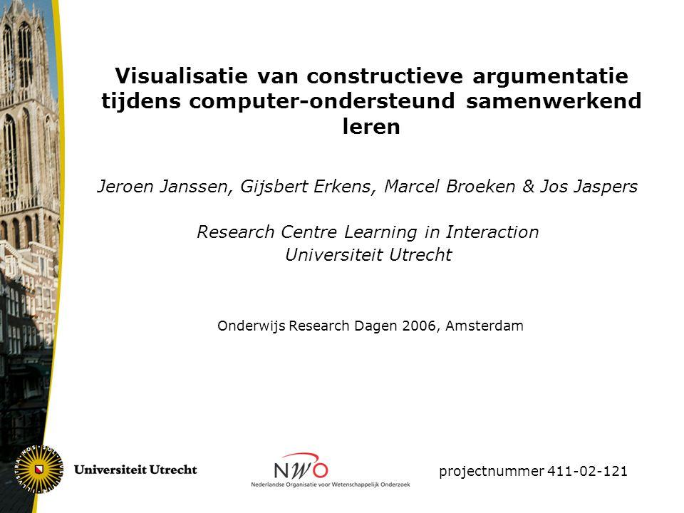 Visualisatie van constructieve argumentatie tijdens computer-ondersteund samenwerkend leren Jeroen Janssen, Gijsbert Erkens, Marcel Broeken & Jos Jasp