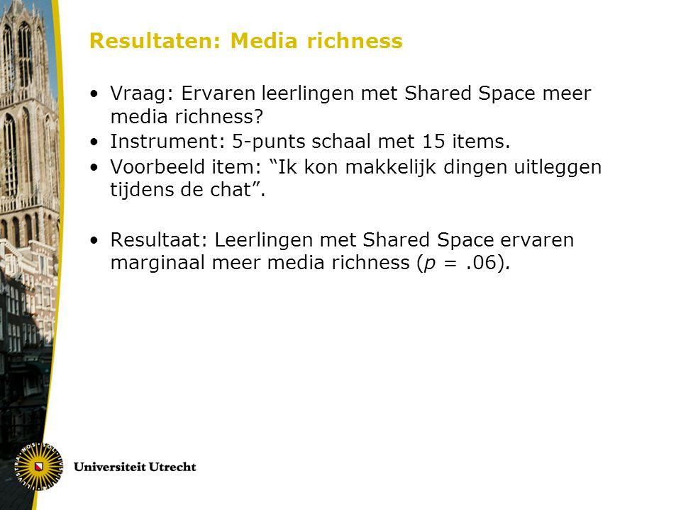 """Resultaten: Media richness Vraag: Ervaren leerlingen met Shared Space meer media richness? Instrument: 5-punts schaal met 15 items. Voorbeeld item: """"I"""