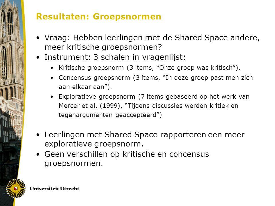 Resultaten: Groepsnormen Vraag: Hebben leerlingen met de Shared Space andere, meer kritische groepsnormen? Instrument: 3 schalen in vragenlijst: Kriti