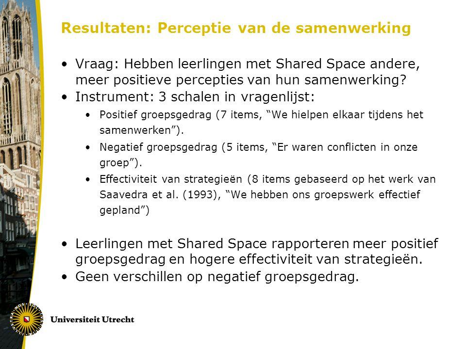 Resultaten: Perceptie van de samenwerking Vraag: Hebben leerlingen met Shared Space andere, meer positieve percepties van hun samenwerking? Instrument