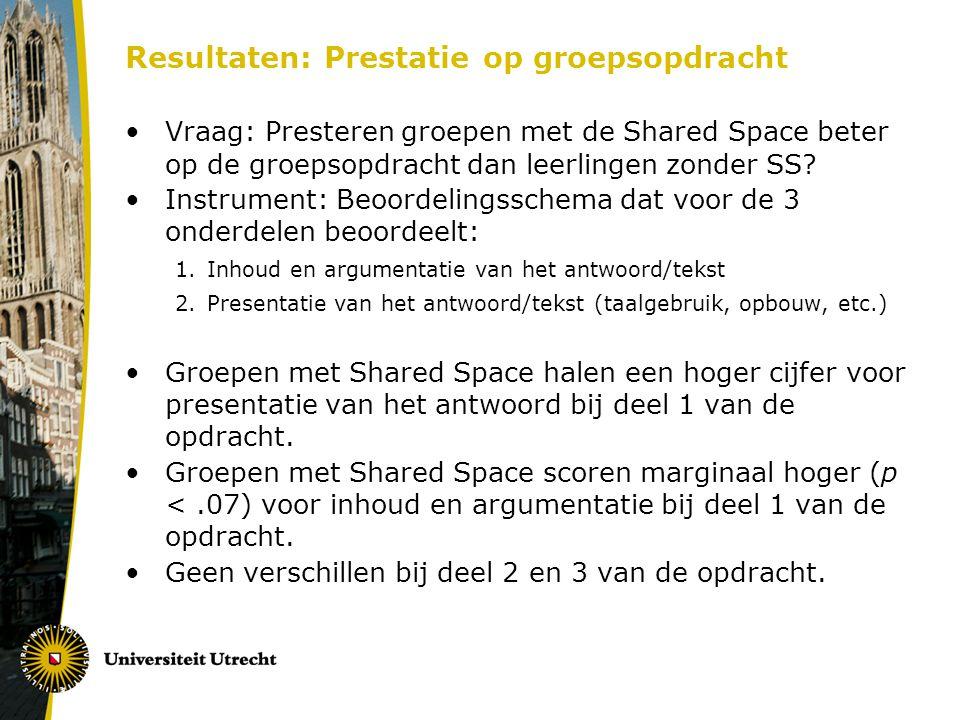 Resultaten: Prestatie op groepsopdracht Vraag: Presteren groepen met de Shared Space beter op de groepsopdracht dan leerlingen zonder SS? Instrument: