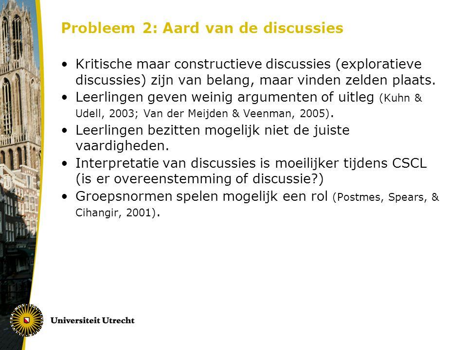 Probleem 2: Aard van de discussies Kritische maar constructieve discussies (exploratieve discussies) zijn van belang, maar vinden zelden plaats. Leerl