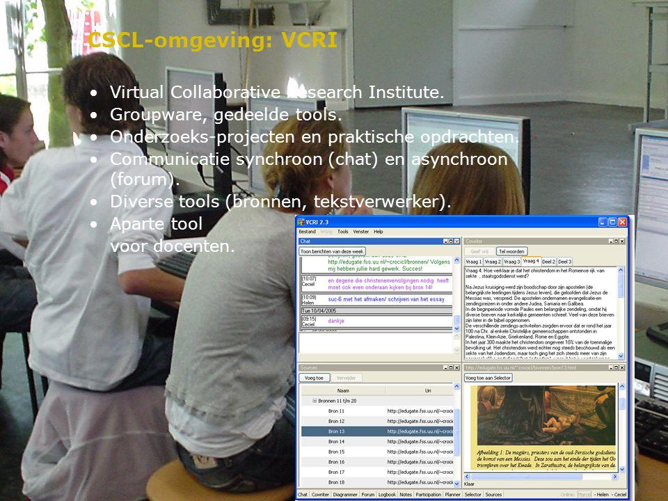 CSCL-omgeving: VCRI Virtual Collaborative Research Institute. Groupware, gedeelde tools. Onderzoeks-projecten en praktische opdrachten. Communicatie s