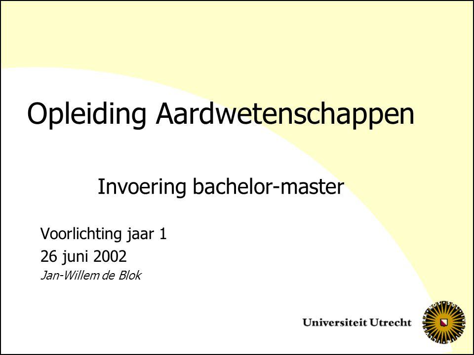 Opleiding Aardwetenschappen Voorlichting jaar 1 26 juni 2002 Jan-Willem de Blok Invoering bachelor-master