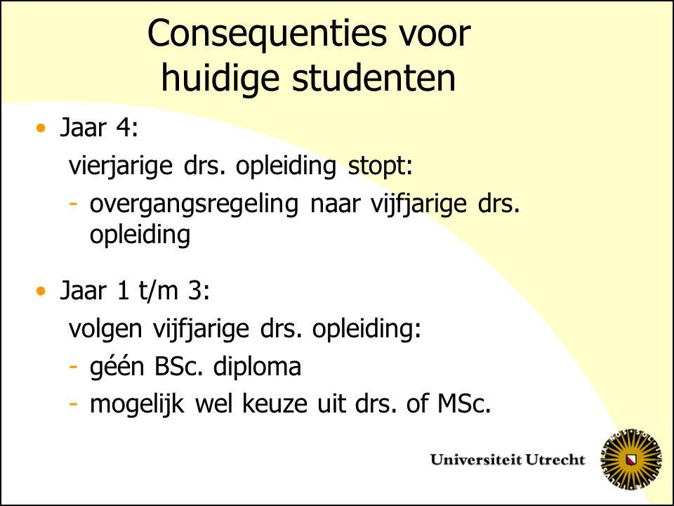 Consequenties voor huidige studenten Jaar 4: vierjarige drs.