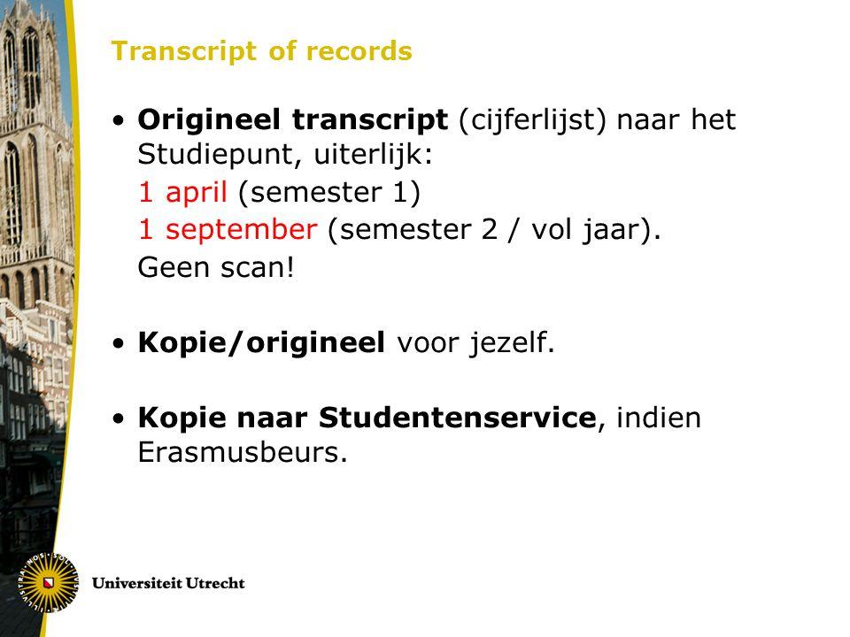 Transcript of records Origineel transcript (cijferlijst) naar het Studiepunt, uiterlijk: 1 april (semester 1) 1 september (semester 2 / vol jaar). Gee