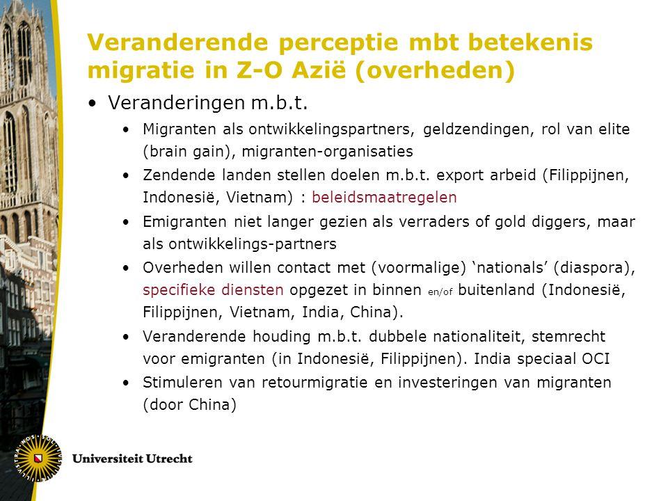 Veranderende perceptie mbt betekenis migratie in Z-O Azië (overheden) Veranderingen m.b.t.