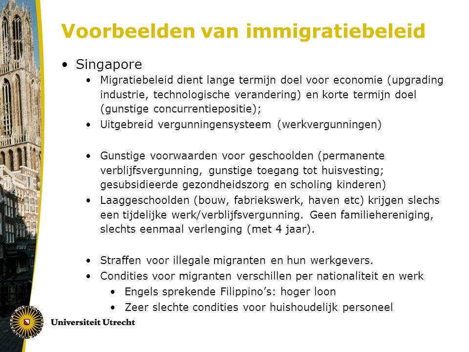 Voorbeelden van immigratiebeleid Singapore Migratiebeleid dient lange termijn doel voor economie (upgrading industrie, technologische verandering) en korte termijn doel (gunstige concurrentiepositie); Uitgebreid vergunningensysteem (werkvergunningen) Gunstige voorwaarden voor geschoolden (permanente verblijfsvergunning, gunstige toegang tot huisvesting; gesubsidieerde gezondheidszorg en scholing kinderen) Laaggeschoolden (bouw, fabriekswerk, haven etc) krijgen slechs een tijdelijke werk/verblijfsvergunning.