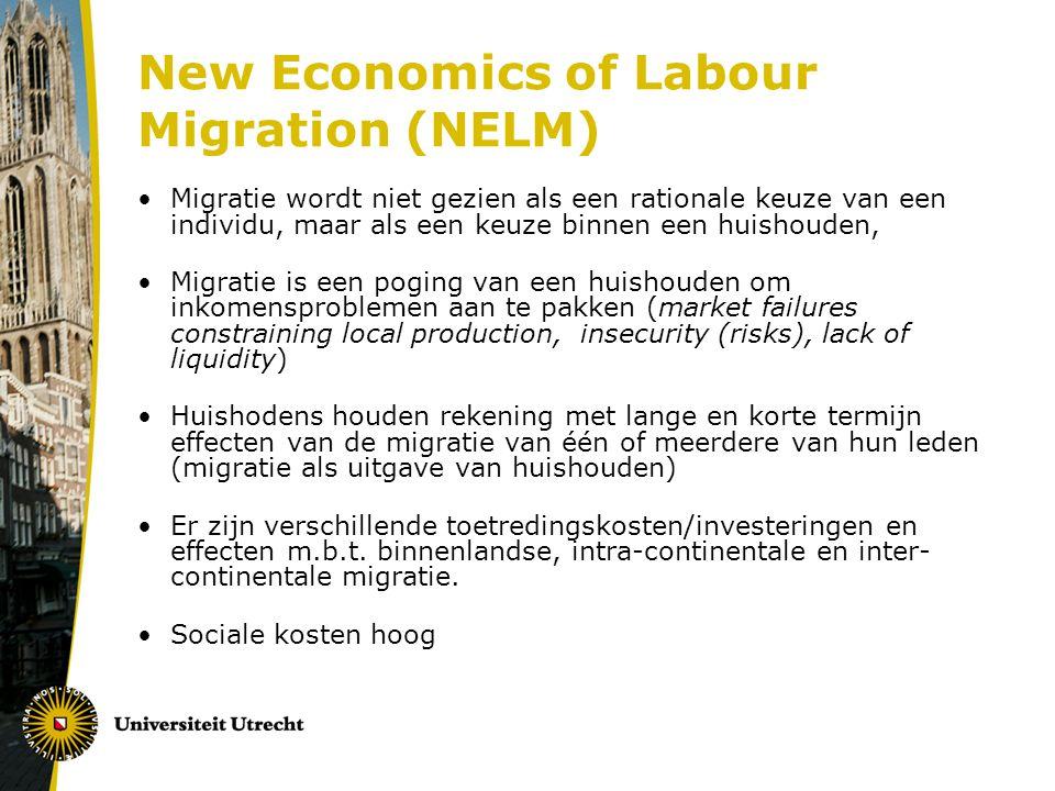 New Economics of Labour Migration (NELM) Migratie wordt niet gezien als een rationale keuze van een individu, maar als een keuze binnen een huishouden, Migratie is een poging van een huishouden om inkomensproblemen aan te pakken (market failures constraining local production, insecurity (risks), lack of liquidity) Huishodens houden rekening met lange en korte termijn effecten van de migratie van één of meerdere van hun leden (migratie als uitgave van huishouden) Er zijn verschillende toetredingskosten/investeringen en effecten m.b.t.