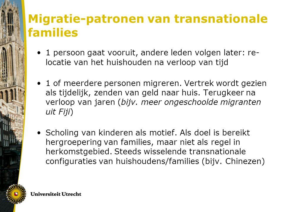 Migratie-patronen van transnationale families 1 persoon gaat vooruit, andere leden volgen later: re- locatie van het huishouden na verloop van tijd 1 of meerdere personen migreren.