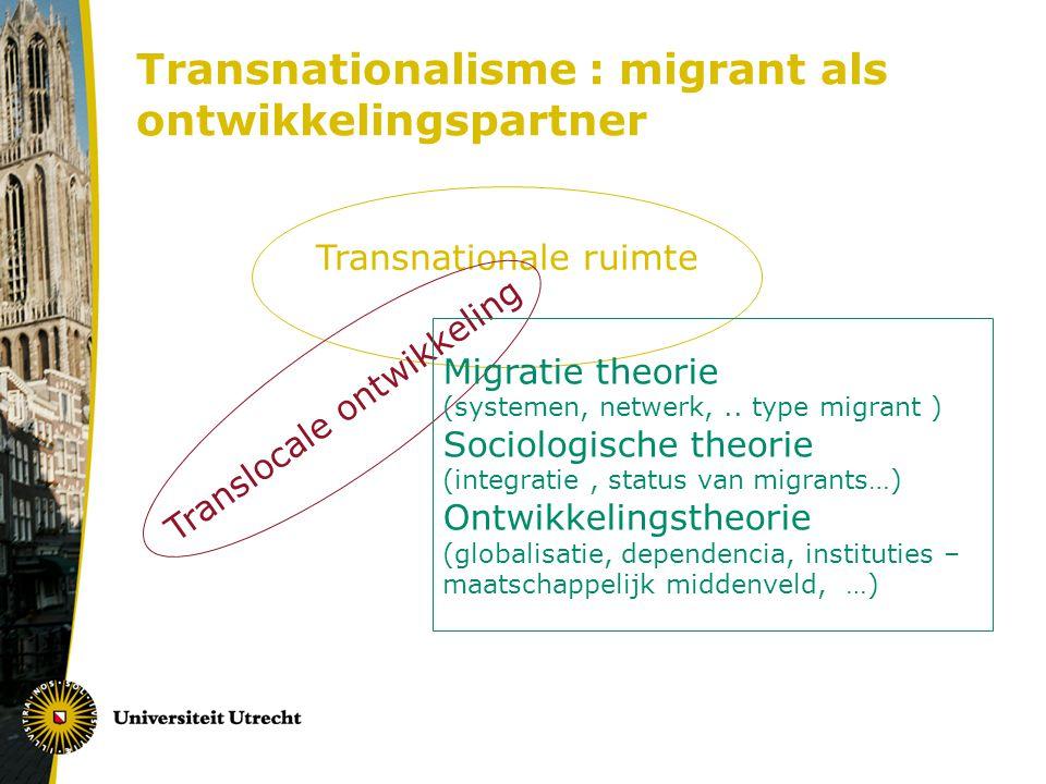 Transnationalisme : migrant als ontwikkelingspartner Transnationale ruimte Translocale ontwikkeling Migratie theorie (systemen, netwerk,..