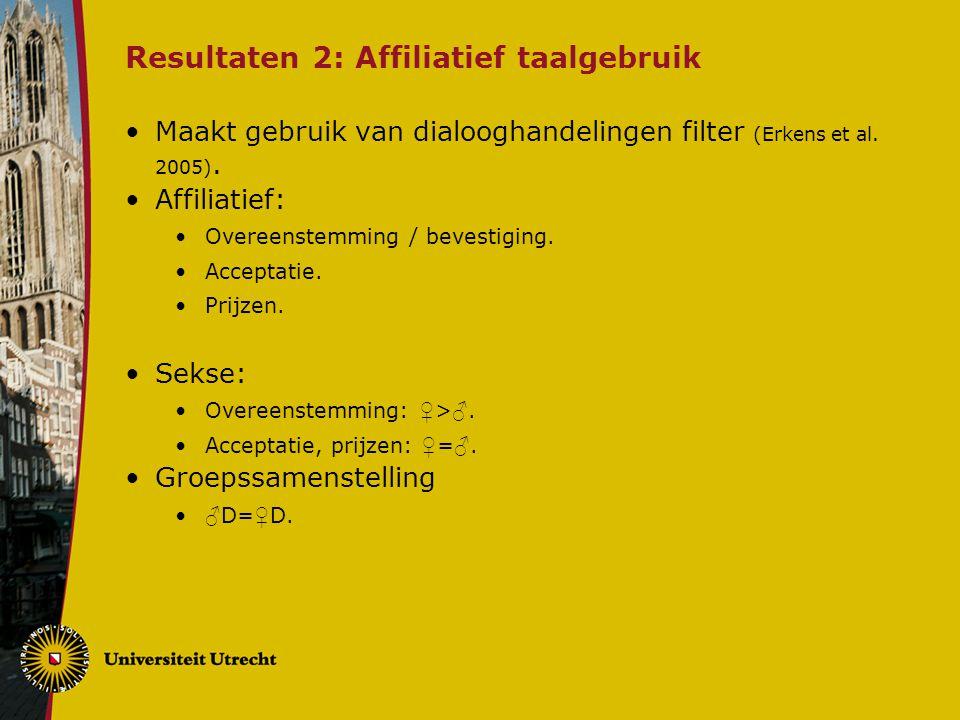 Resultaten 2: Affiliatief taalgebruik Maakt gebruik van dialooghandelingen filter (Erkens et al.