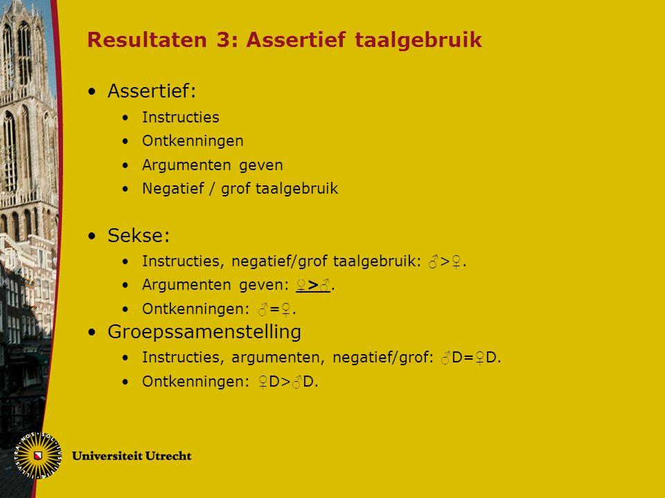 Resultaten 3: Assertief taalgebruik Assertief: Instructies Ontkenningen Argumenten geven Negatief / grof taalgebruik Sekse: Instructies, negatief/grof taalgebruik: ♂ > ♀.