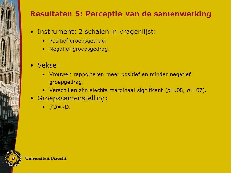 Resultaten 5: Perceptie van de samenwerking Instrument: 2 schalen in vragenlijst: Positief groepsgedrag.