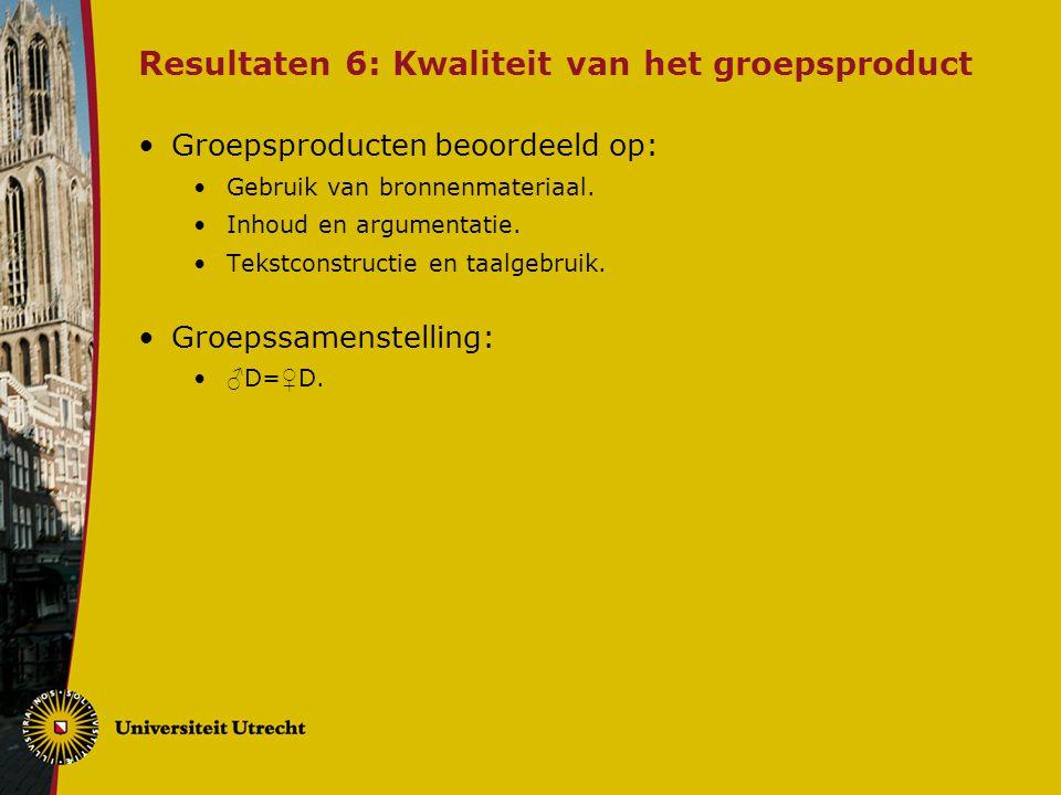 Resultaten 6: Kwaliteit van het groepsproduct Groepsproducten beoordeeld op: Gebruik van bronnenmateriaal.
