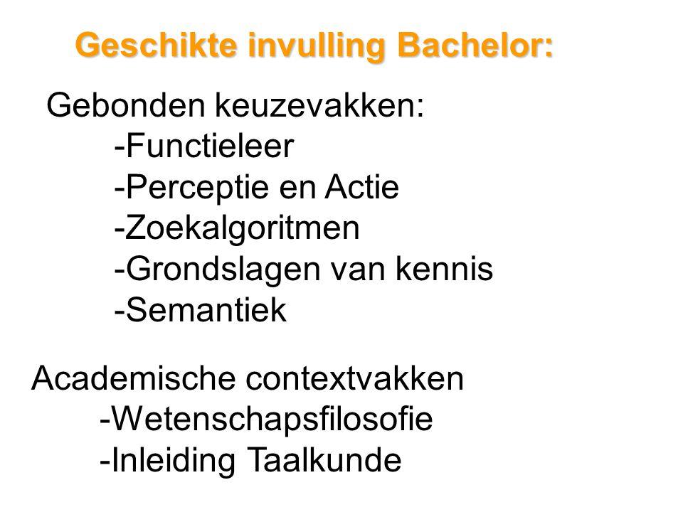 Geschikte invulling Bachelor: Gebonden keuzevakken: -Functieleer -Perceptie en Actie -Zoekalgoritmen -Grondslagen van kennis -Semantiek Academische contextvakken -Wetenschapsfilosofie -Inleiding Taalkunde