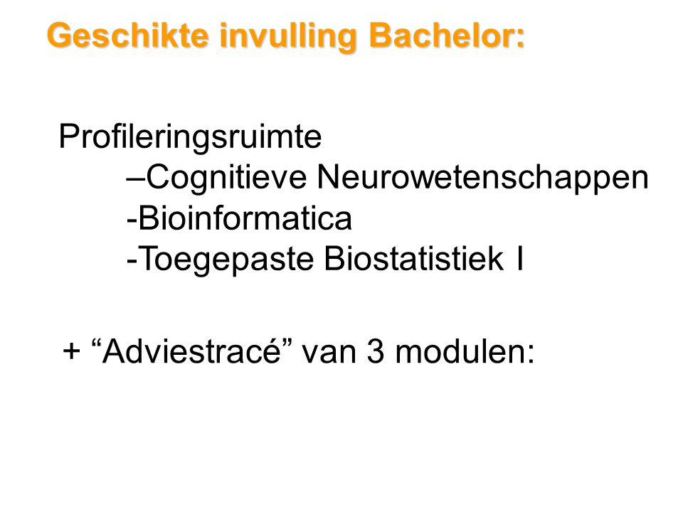Geschikte invulling Bachelor: Profileringsruimte –Cognitieve Neurowetenschappen -Bioinformatica -Toegepaste Biostatistiek I + Adviestracé van 3 modulen: