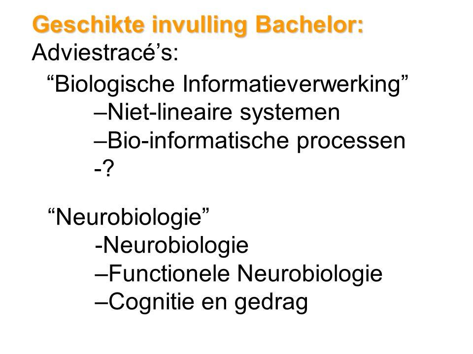 Geschikte invulling Bachelor: Adviestracé's: Biologische Informatieverwerking –Niet-lineaire systemen –Bio-informatische processen -.