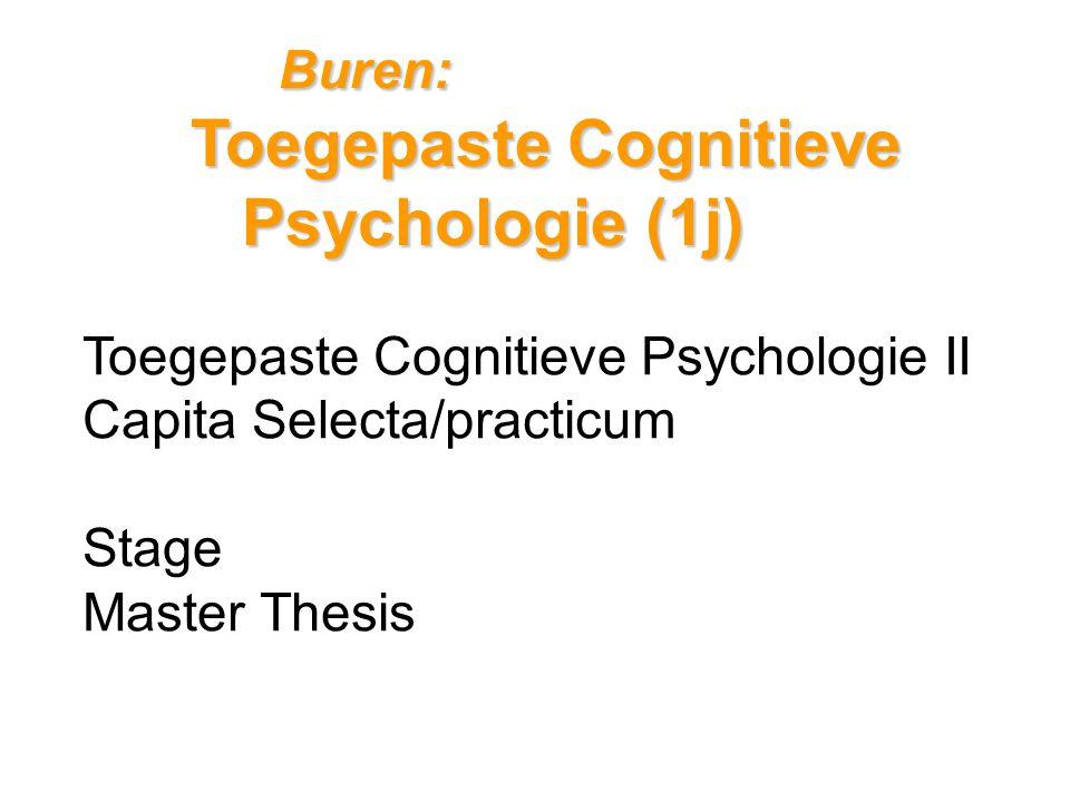 Buren: Toegepaste Cognitieve Psychologie (1j) Toegepaste Cognitieve Psychologie II Capita Selecta/practicum Stage Master Thesis