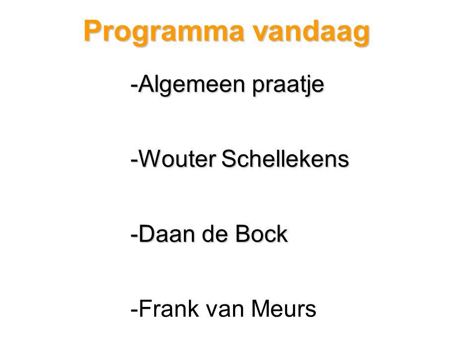 Programma vandaag -Algemeen praatje -Wouter Schellekens -Daan de Bock -Frank van Meurs