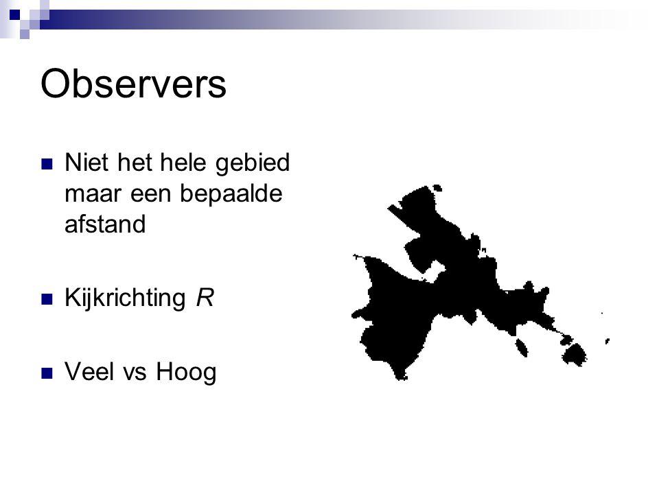 Observers Niet het hele gebied maar een bepaalde afstand Kijkrichting R Veel vs Hoog