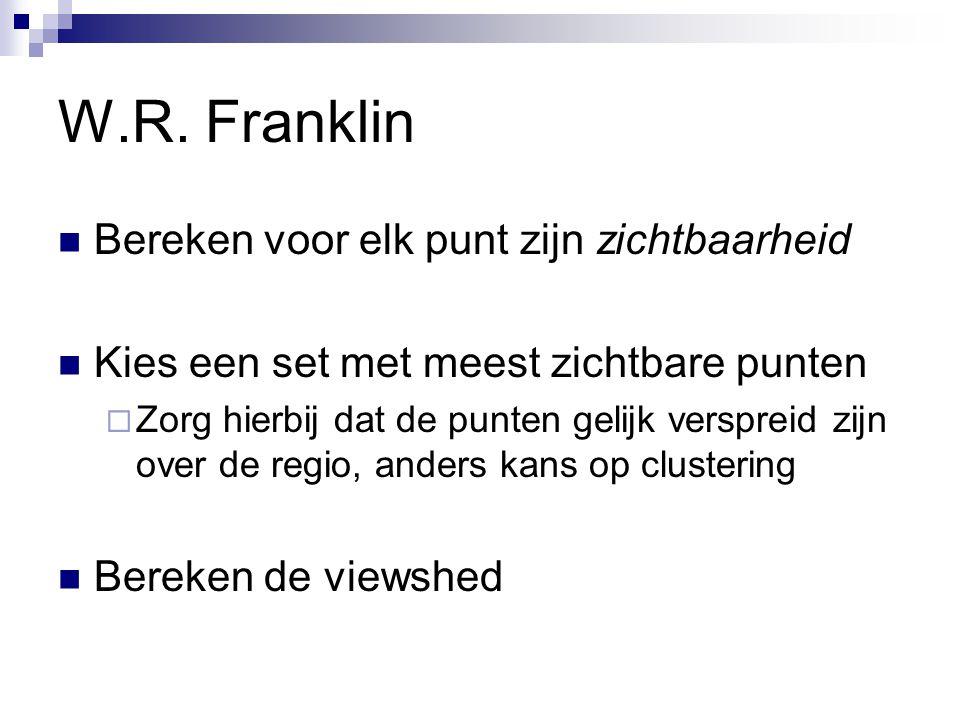 W.R. Franklin Bereken voor elk punt zijn zichtbaarheid Kies een set met meest zichtbare punten  Zorg hierbij dat de punten gelijk verspreid zijn over