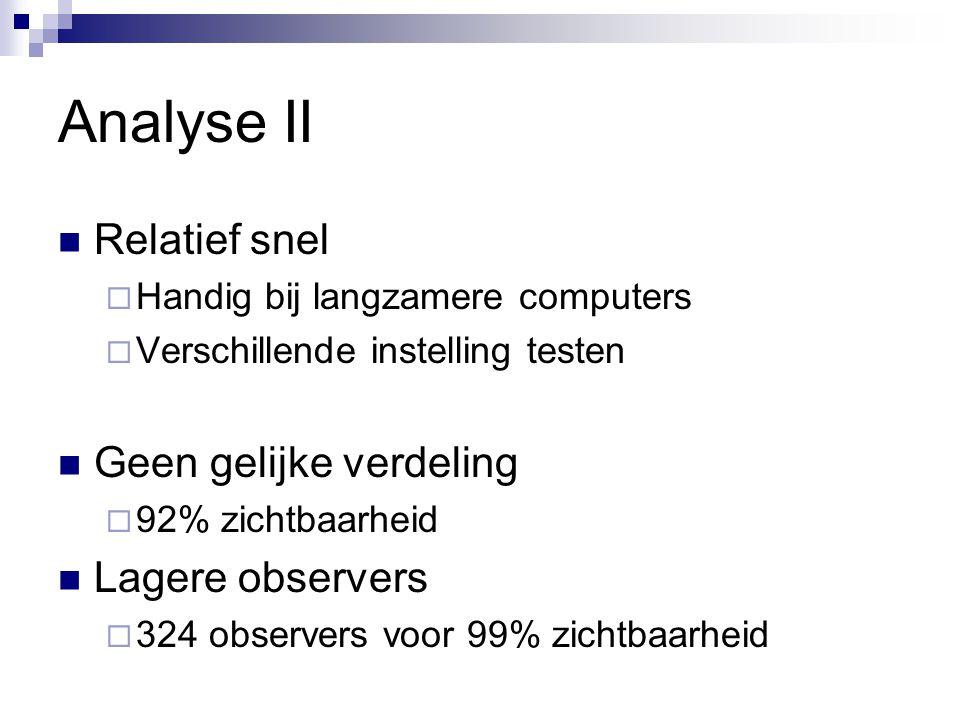 Analyse II Relatief snel  Handig bij langzamere computers  Verschillende instelling testen Geen gelijke verdeling  92% zichtbaarheid Lagere observers  324 observers voor 99% zichtbaarheid