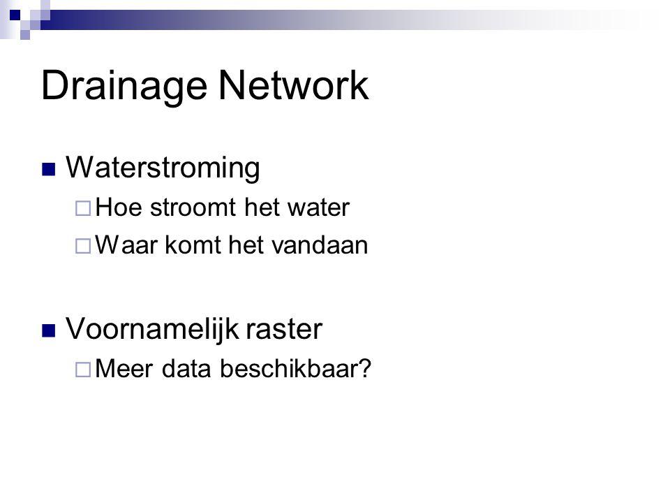 Drainage Network Waterstroming  Hoe stroomt het water  Waar komt het vandaan Voornamelijk raster  Meer data beschikbaar?