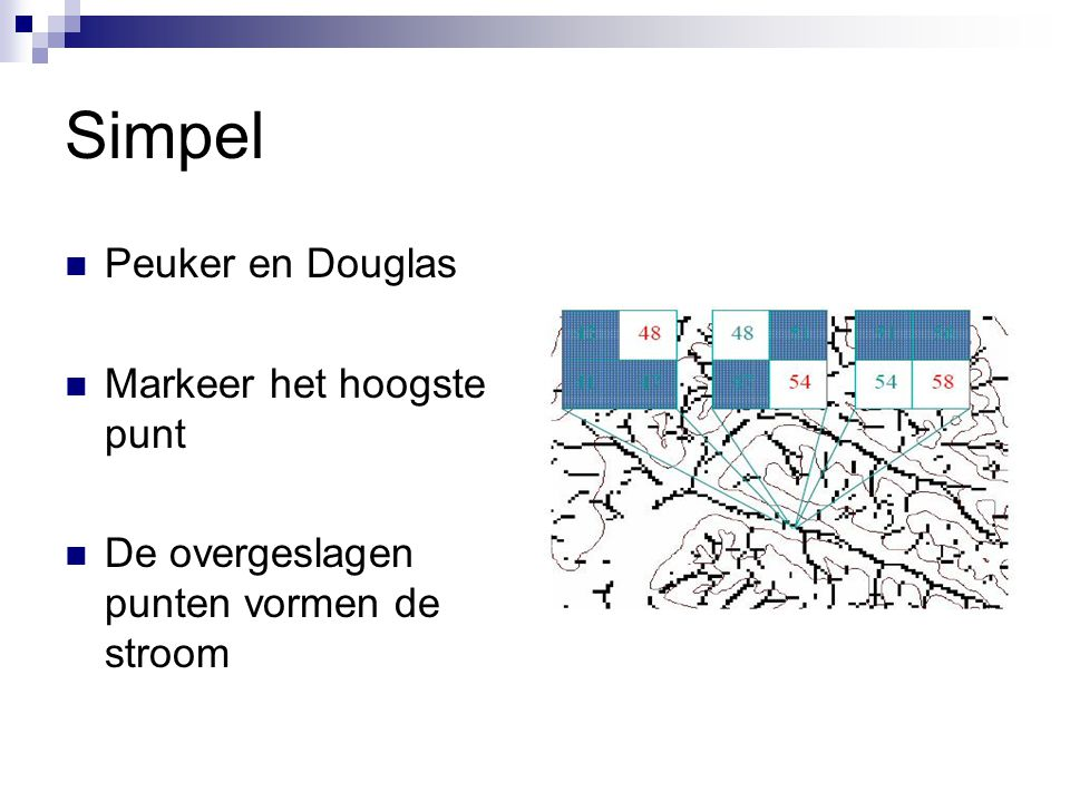Simpel Peuker en Douglas Markeer het hoogste punt De overgeslagen punten vormen de stroom