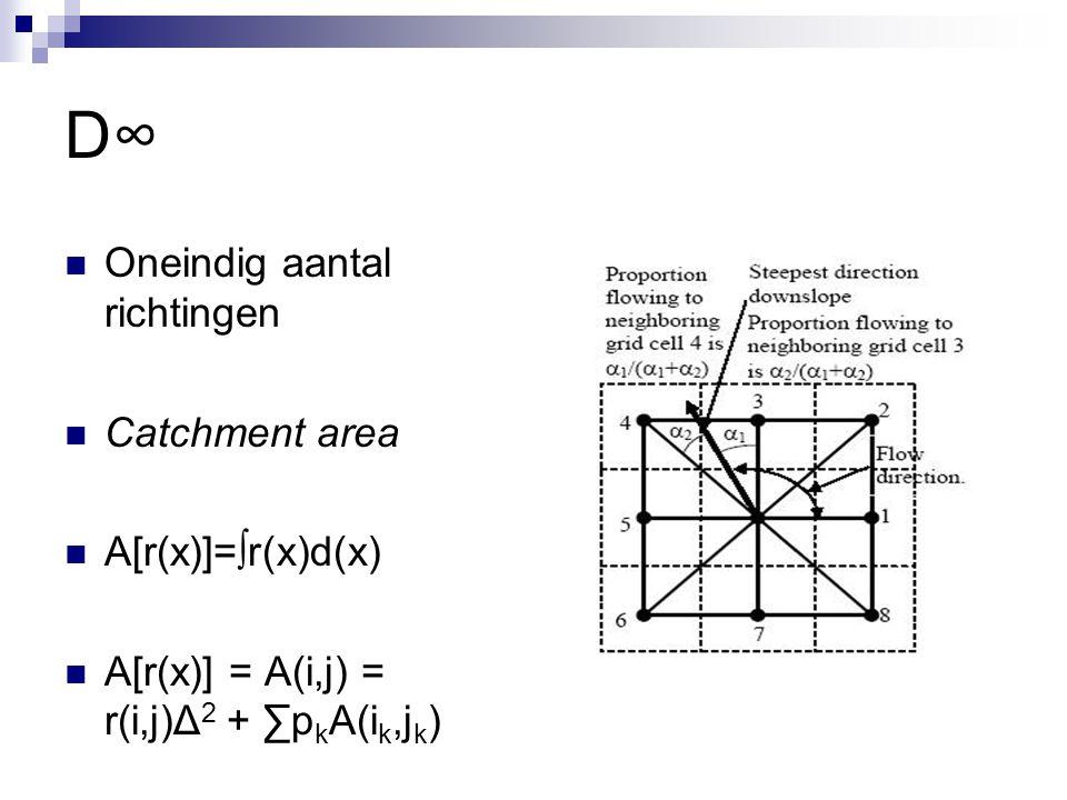 D∞D∞ Oneindig aantal richtingen Catchment area A[r(x)]=∫r(x)d(x) A[r(x)] = A(i,j) = r(i,j)Δ 2 + ∑p k A(i k,j k )