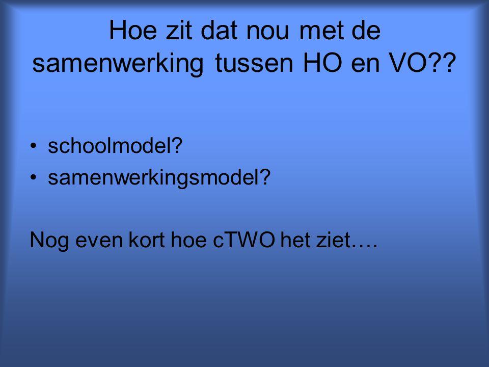 Hoe zit dat nou met de samenwerking tussen HO en VO?? schoolmodel? samenwerkingsmodel? Nog even kort hoe cTWO het ziet….