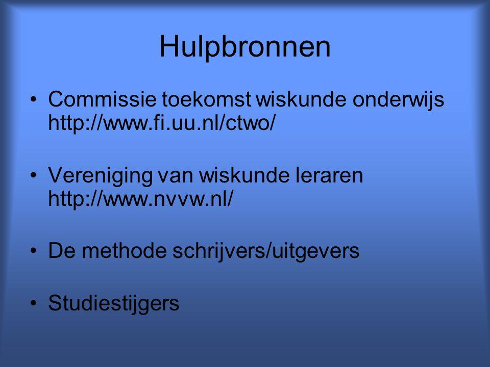 Hulpbronnen Commissie toekomst wiskunde onderwijs http://www.fi.uu.nl/ctwo/ Vereniging van wiskunde leraren http://www.nvvw.nl/ De methode schrijvers/