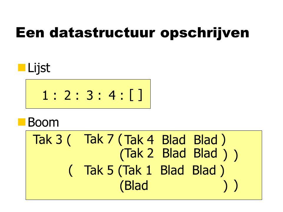 Een datastructuur opschrijven nLijst nBoom [ ] 4 :3 :2 :1 : BladTak 2Blad Tak 4 Blad Blad Tak 7 ( ) ( ) Tak 5 (Tak 1 Blad Blad ) (Blad ) Tak 3 ( ) ( )