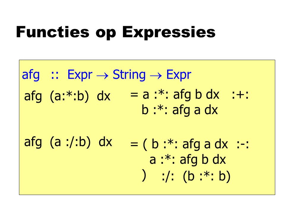 Functies op Expressies afg :: Expr  String  Expr afg (a:*:b) dx afg (a :/:b) dx = a :*: afg b dx :+: b :*: afg a dx = ( b :*: afg a dx :-: a :*: afg b dx ) :/: (b :*: b)