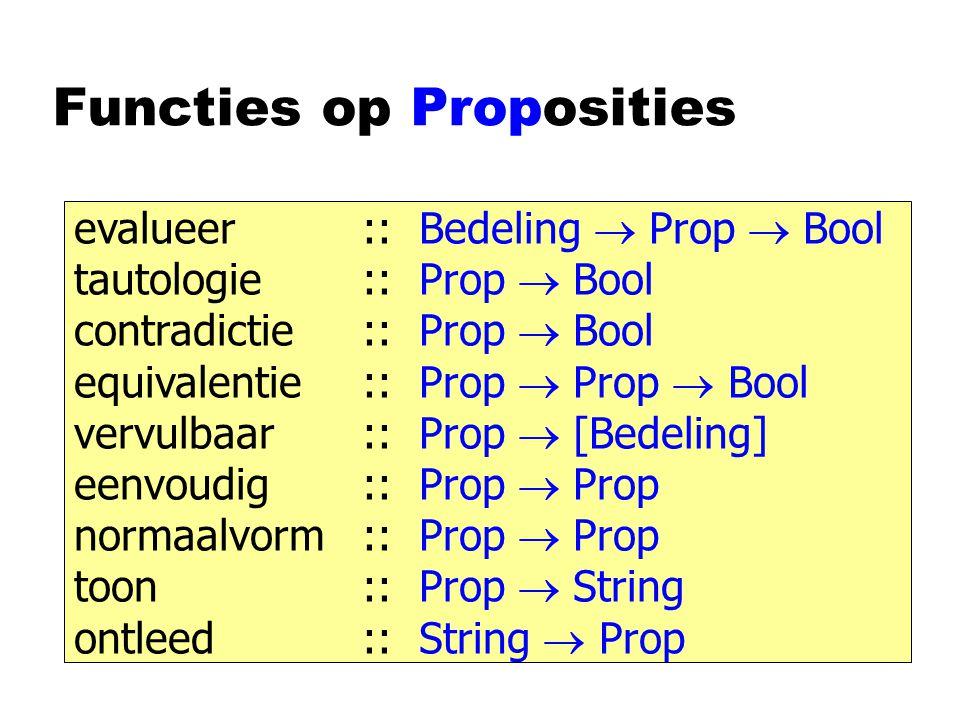 Functies op Proposities evalueer:: Bedeling  Prop  Bool tautologie:: Prop  Bool contradictie:: Prop  Bool equivalentie:: Prop  Prop  Bool vervulbaar:: Prop  [Bedeling] eenvoudig:: Prop  Prop normaalvorm:: Prop  Prop toon:: Prop  String ontleed:: String  Prop