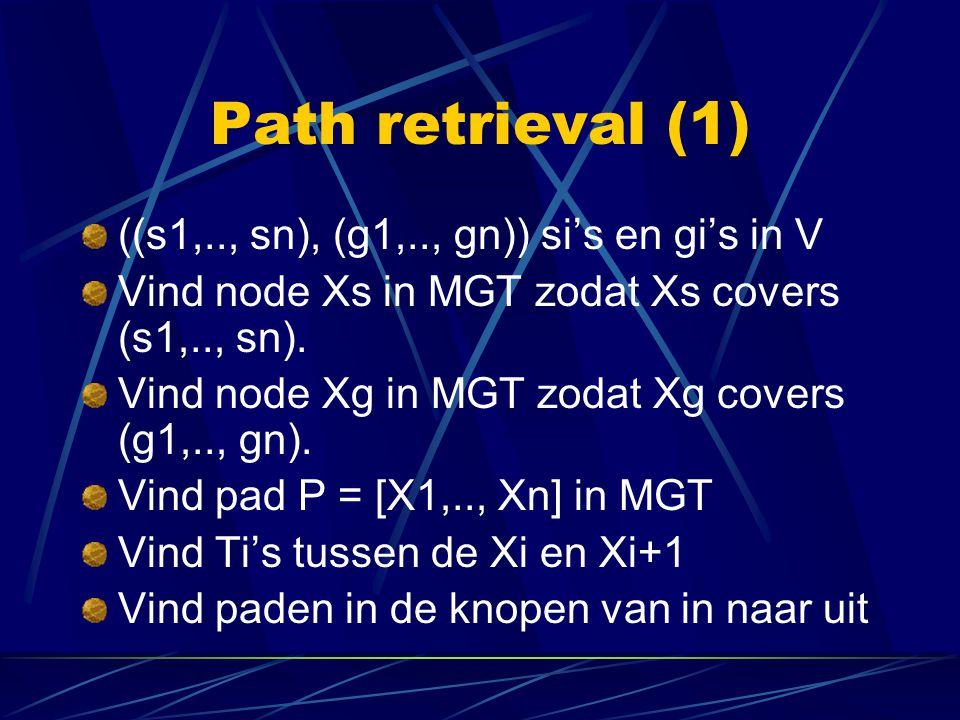 Path retrieval (1) ((s1,.., sn), (g1,.., gn)) si's en gi's in V Vind node Xs in MGT zodat Xs covers (s1,.., sn). Vind node Xg in MGT zodat Xg covers (